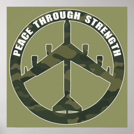 B-52 - Peace through strength - peace symbol Poster