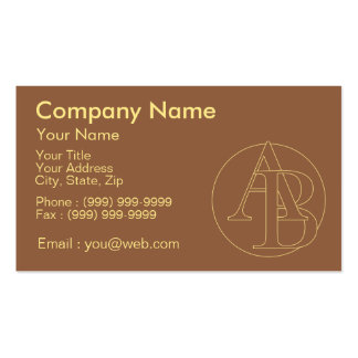 """""""B&A"""" your monogram on """"iced coffee"""" color Pack Of Standard Business Cards"""