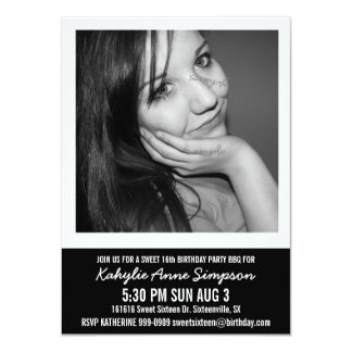 """B and W Photo Sweet 16 Party 4.5"""" X 6.25"""" Invitation Card"""
