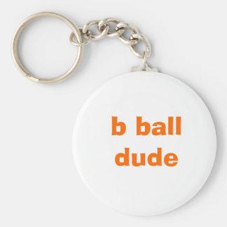 b ball dude basic round button key ring