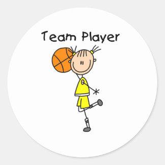B-Ball Team Player Round Sticker