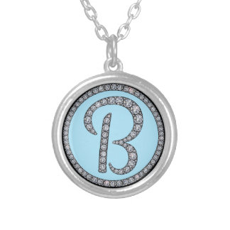 B Bling monogram neckalce Round Pendant Necklace