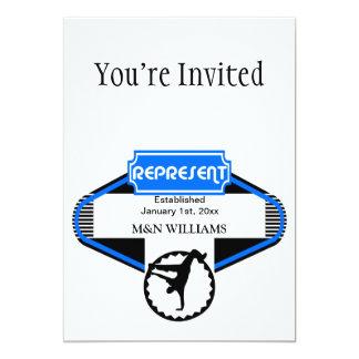 B Boy Black Blue Represent Customize Logo 5x7 Paper Invitation Card