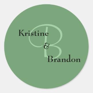 B, &, Brandon, Kristine Classic Round Sticker