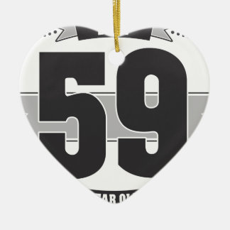 B-day 59 (Dark&Lightgrey) Ceramic Heart Decoration
