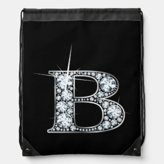 "B ""Diamond Bling"" Drawstring Bag"