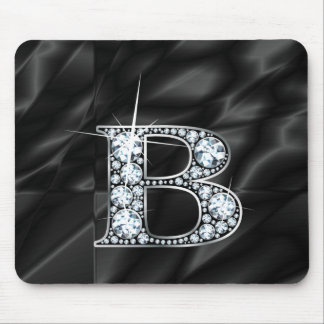 "B ""Diamond Bling"" on Black  Mousepad"