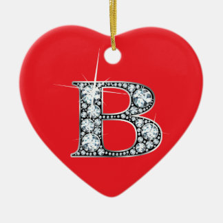 """B"" Diamond Bling on Red Ornament"