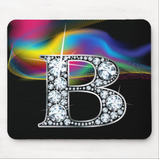"""B"" Diamond Bling with Rainbow Swirl Mousepad"
