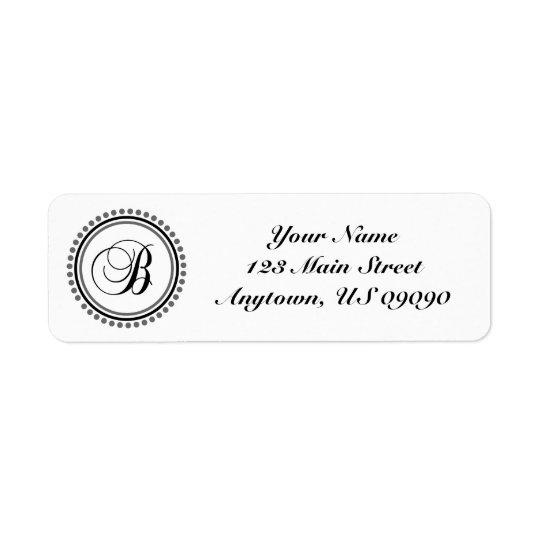 B Dot Circle Mongram Address Label (Black / Grey)