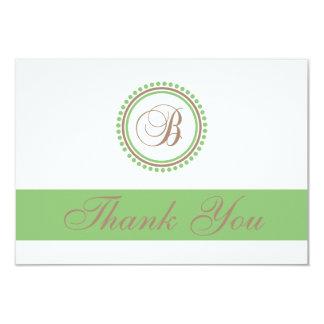 B Dot Circle Monogam Thank You Cards (Brown/Mint) Custom Invites