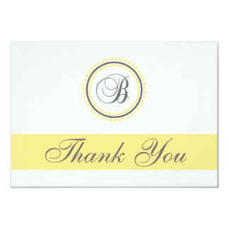B Dot Circle Monogam Thank You Cards (Yellow/Gray) 9 Cm X 13 Cm Invitation Card