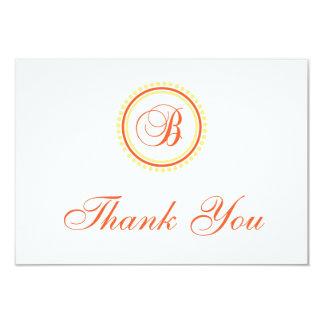 B Dot Circle Monogam Thank You (Orange / Yellow) 9 Cm X 13 Cm Invitation Card