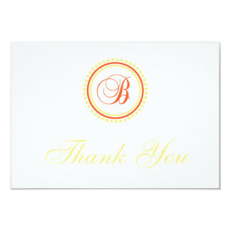 "B Dot Circle Monogam Thank You (Orange / Yellow) 3.5"" X 5"" Invitation Card"