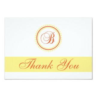 B Dot Circle Monogam Thank You (Orange / Yellow) Personalized Announcements