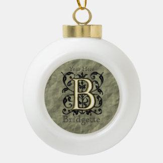 B - Embossed Vintage Monogram Ceramic Ball Decoration