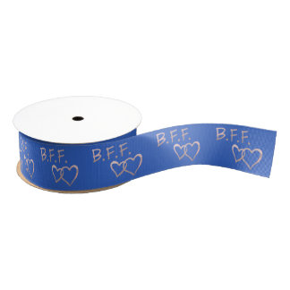 B F F with Linked Hearts on Deep Blue Grosgrain Ribbon