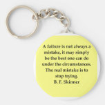 b f skinner quote basic round button key ring