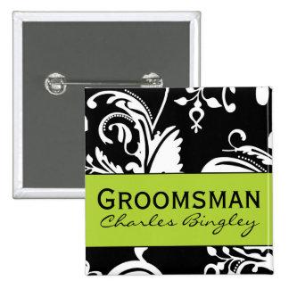 B&G Square Groomsman Button