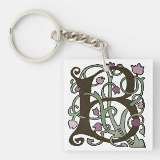 B Initial Cap Decorative Floral Design Vintage Single-Sided Square Acrylic Key Ring