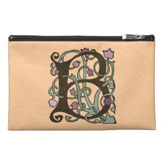 B Initial Cap Decorative Floral Design Vintage Travel Accessories Bag