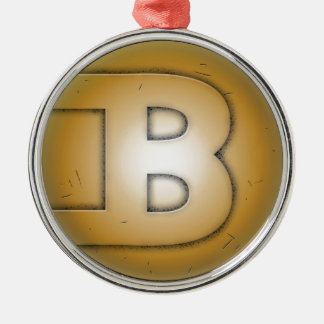 B initial letter Silver-Colored round decoration