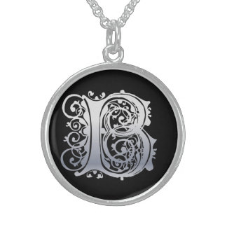 "B Initial Monogram ""Silver Lace on Black"" Necklace"