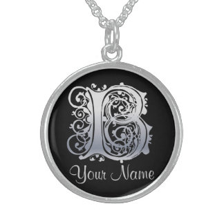 B Initial with Your Name Necklace Custom Necklace