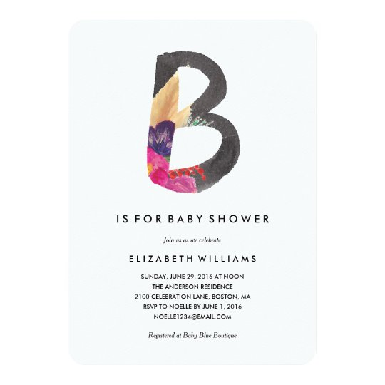B is for Baby Shower Invitation