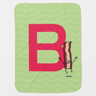 B is for Bacon happy jumping strip abc letter Baby Blanket