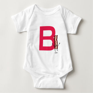 B is for Bacon happy jumping strip abc letter Baby Bodysuit