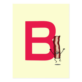 B is for Bacon happy jumping strip abc letter Postcard