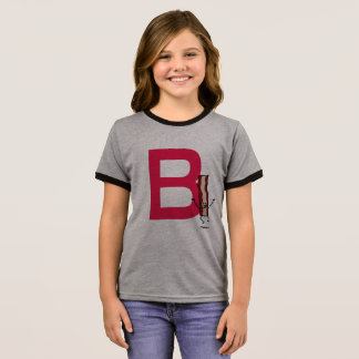 B is for Bacon happy jumping strip abc letter Ringer T-Shirt