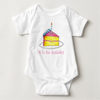 B is for Birthday Cake Slice Candle Pink Alphabet Baby Bodysuit