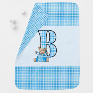 B is for Blue Bear and Little Boys in Plaid Baby Blanket
