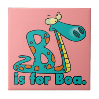 B is for boa constrictor silly snake cartoon small square tile