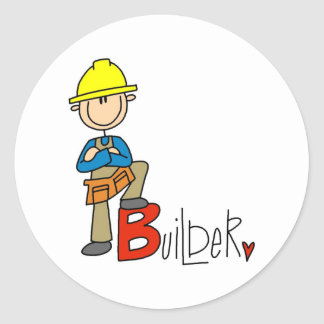 B is for Builder Round Sticker