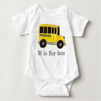 B is for Bus Yellow School Bus Education Alphabet Baby Bodysuit