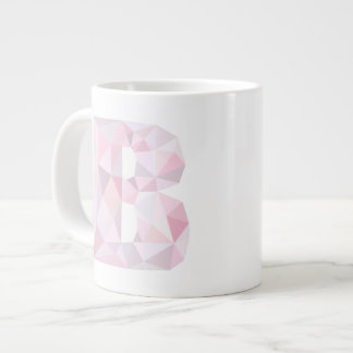 B - Low Poly Triangles - Neutral Pink Purple Gray Jumbo Mug