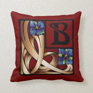 """""""B"""" Monogram Art Nouveau Square Pillow #1"""