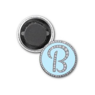B monogram bling magnet