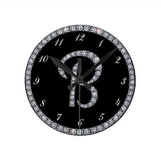 B Monogram bling ring clock