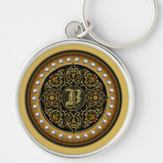 B  Monogram Classic Best viewed large see notes Silver-Colored Round Key Ring