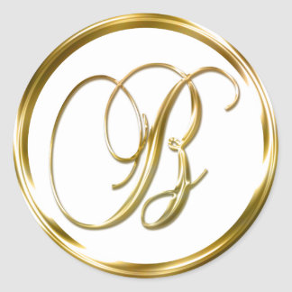 B Monogram Faux Gold Envelope Or Favor Seal Round Sticker