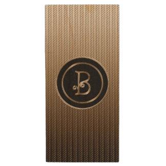 B Monogram Wood USB 2.0 Flash Drive