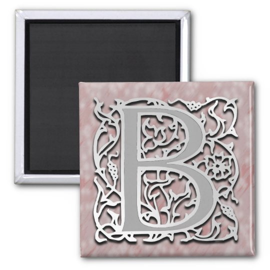 "B Monogram ""Silver Stone"" Square Magnet"