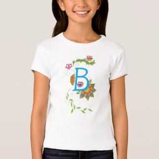 """""""B"""" monogram tshirt with owls and flowers"""