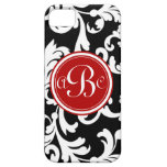 """B"" Monogrammed Damask in Red and Black"