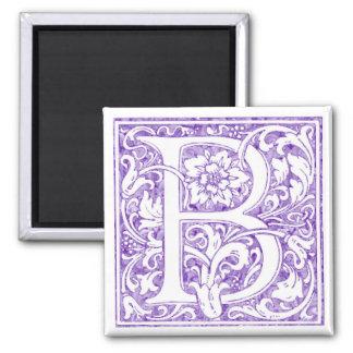 """B"" Ornate Monogram Square Magnet"