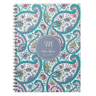 B Persian  Boteh Paisley Pattern Monogram Diary N Spiral Notebook
